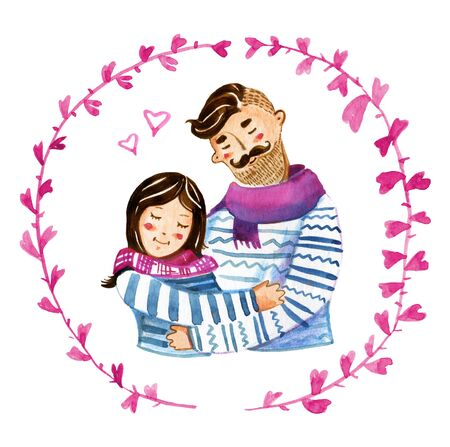 Hand drawn watercolor illustration for St Valentines day with cartoon couple in floral frame