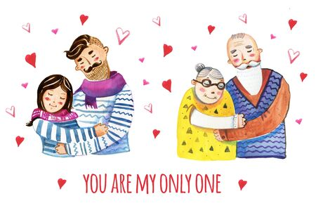 Hand drawn watercolor illustration of two couples cuddling. Old and young 版權商用圖片