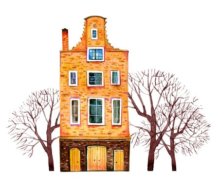 Yellow watercolor old stone europe house. Amsterdam building with trees. Hand drawn cartoon illustration isolated on white background