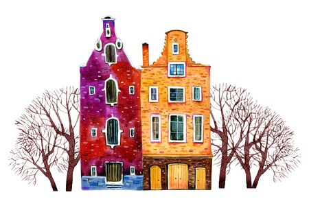 Two watercolor old stone europe houses. Amsterdam buildings with trees. Hand drawn cartoon illustration isolated on white background