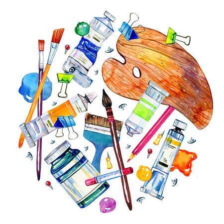 Artist materials in round composition - palette, paintbrushes, color spots tubes. Hand drawn sketch watercolor illustration on white background Zdjęcie Seryjne