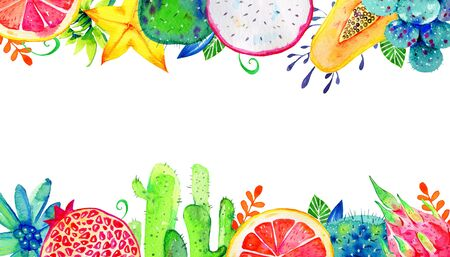 Rectangular frame with exotic fruits and succulents on top and bottom. Pomegranate, pitahaya, citrus, avocado, papaya, caranbola. Hand drawn watercolor illustration on white background
