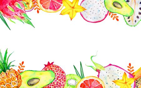 Rectangular frame with exotic fruits on top and bottom. Citrus, avocado, pitahaya, carambola, annona, pineapple, pomegranate, papaya. Hand drawn watercolor illustration isolated on white background