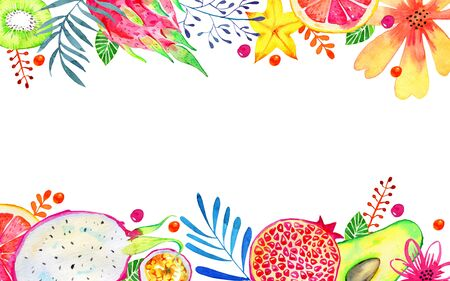 Rectangular frame with exotic fruits and decorative flowers on top and bottom. Citrus, avocado, pitahaya, carambola, annona, pomegranate. Hand drawn watercolor illustration Zdjęcie Seryjne