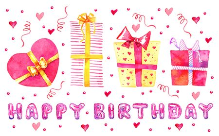Set of stylized cartoon gift boxes and lettering balloons. Title Happy birthday. Hand drawn watercolor sketch illustration isolated on white background Foto de archivo - 138047519