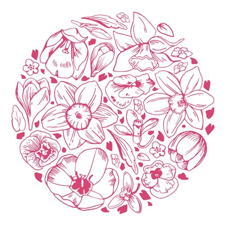 Round composition with spring flowers. Tulips and narcissuses. Hand drawn outline vector sketch illustration on white background Illusztráció