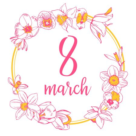 Design template for International womens day. Hand drawn colorful outline vector sketch illustration. Round composition with spring flowers on white background