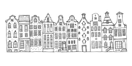 Amsterdam vector sketch hand drawn illustration. Cartoon outline houses facades in a row isolated on white background