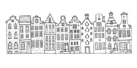 Ilustración de dibujado a mano de dibujo vectorial de Amsterdam. Esquema de dibujos animados casas fachadas en una fila aislada sobre fondo blanco
