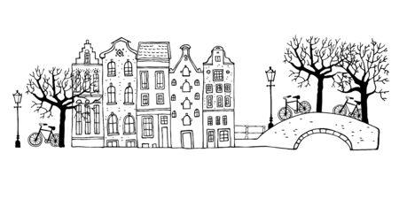 Escena de una calle de Amsterdam. Dibujo de contorno de vector dibujado a mano ilustración. Casas con puentes, faroles, árboles y bicicletas aislado sobre fondo blanco.