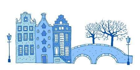 Amsterdam street scene. Vector outline sketch hand drawn illustration. Three houses with bridge, lantern, trees in colors of blue porcelain paints isolated on white background