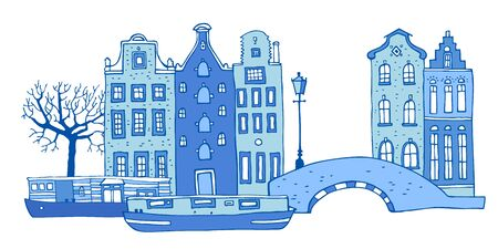 Amsterdam street scene. Vector outline sketch hand drawn illustration. Houses with bridge, lantern, trees and boats in colors of blue porcelain paints isolated on white background Ilustração