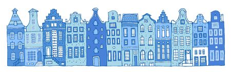 Amsterdam vector sketch hand drawn illustration. Cartoon outline houses facades in a row in colors of blue porcelain paints isolated on white background