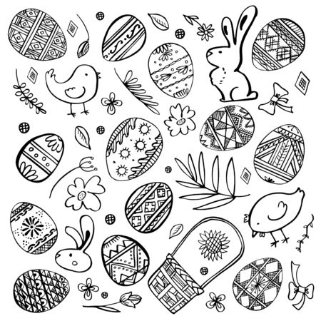 Easter sketch set. Painted eggs, rabbits, chickens, plants and basket. Hand drawn outline ink vector illustration black on white background