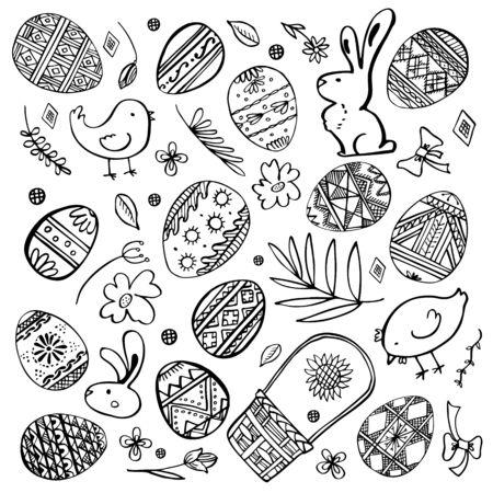 Insieme di schizzi di Pasqua. Uova dipinte, conigli, galline, piante e cesto. Illustrazione vettoriale di inchiostro contorno disegnato a mano nero su sfondo bianco