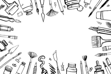 Frame with hand drawn sketch vector artist materials. Black and white stylized illustration with painting and drawing tools. Brushes, tubes, pens and pencils isolated on white background