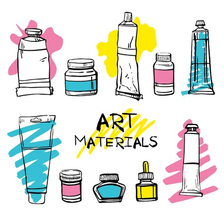 Set of hand drawn sketch vector artist materials. Black and white stylized illustration with color stains. Tubes and containers with paints isolated on white background
