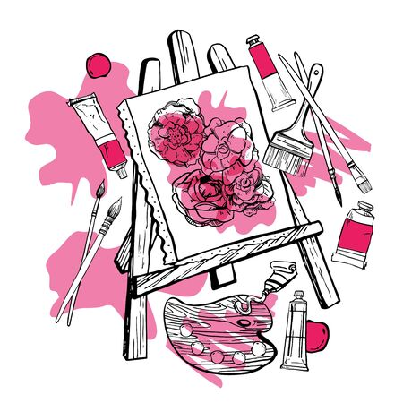 Artist easel with canvas and painting tools. Hand drawn sketch. Black and white stylized illustration with pink stains isolated on white background
