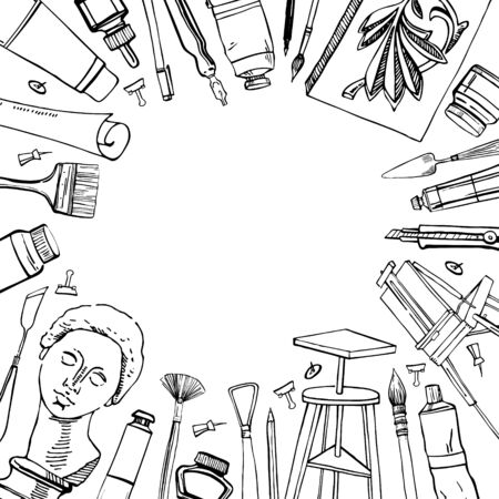 Frame with hand drawn sketch vector artist materials. Black and white stylized illustration with painting and drawing tools isolated on white background. Table, easel, tubes, brushes, models, pens Иллюстрация