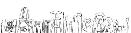 Vector artist materials in a row - hand drawn sketch. Black and white stylized illustration with painting and drawing tools isolated on white background