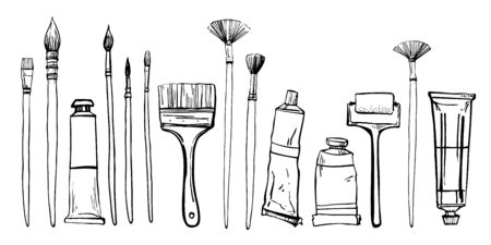 Artist painting materials. Hand drawn stylized sketch vector illustration. Brushes and pain tubes. Black outline graphic on white background Vector Illustration