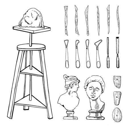 Set of hand drawn sketch vector sculptor artist materials. Black and white stylized illustration with tools - stacks, table, chisels and heads isolated on white background Ilustração