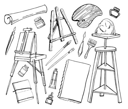 Set of hand drawn sketch vector artist tables, easels and tools. Black and white stylized illustration. Brushes, tubes, palette, paper and canvas isolated on white background Иллюстрация