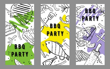 Set of three BBQ party flyers design template. Outline sketch vector hand drawn illustration with different grilled food and colorful spots on white background