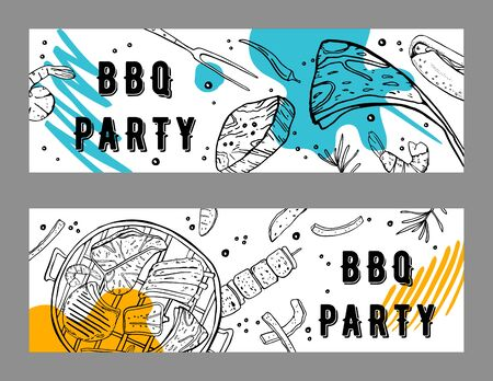 Two BBQ party flyers design templates. Outline sketch vector hand drawn illustration with different food and colorful spots on white background