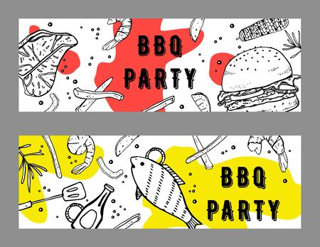 Set of two BBQ party flyers design template. Outline sketch vector hand drawn illustration with different grilled food and colorful spots on white background