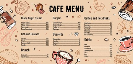 Cafe menu design template with list of meat, fish, burgers, drinks, coffee and desserts. Outline vector hand drawn sketch illustration with different food on brown background