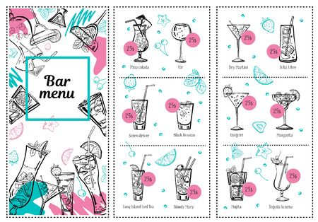 Cocktail menu design template and drink list. Vector outline hand drawn illustration with white background and color elements