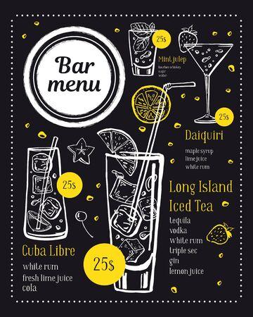 Bar menu design template. Clocktails illustrations with ingredients and prices. Vector outline sketch hand drawn illustration on blackboard