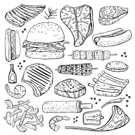 Grill- und Grillgerichte. Umrissvektor handgezeichnete Skizzenillustration isoliert schwarz auf weißem Hintergrund