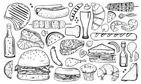 Picnic, grill and barbecue food set. Outline hand drawn vector sketch illustration isolated black on white background