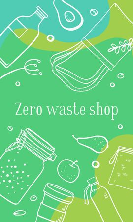 Vertical banner design template. Zero waste shop. Eco bags, jars and food. Outline hand drawn vector illustration. White on green background