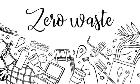 Zero waste composition. Containers, bottles, eco bags, objects, food ont the bottom of the page. Hand drawn otline vector sketch illustration. Black on white background