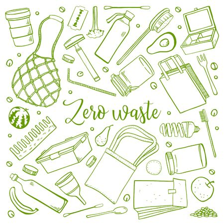 Set of zero waste objects. Eco bags, bottles, containers, food, brushes. Hand drawn outline vector sketch illustration. Green on white background