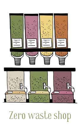 Zero waste shop bulk containers and dispensers with beans and seeds. Hand drawn vector sketch illustration on white background Иллюстрация