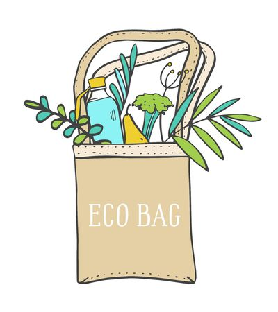 Eco bag with bottle, food and plants. Hand drawn vector sketch color illustration on white background