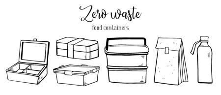 Set of different food containers, paper bag and glass bottle. Eco packages. Hand drawn outline vector sketch illustration isolated on white background Иллюстрация