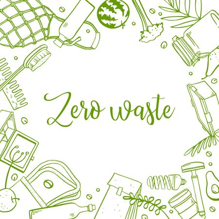 Rectangular frame design template. Zero waste objects. Bags, containers, jars and bottles, combs, food and plants. Hand drawn outline vector sketch illustration. Green on white background