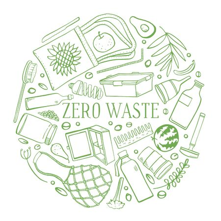 Zero waste round composition. Eco bags, glass jars and bottles, objects, food and plants. Hand drawn outline vector sketch illustration. Green on white background