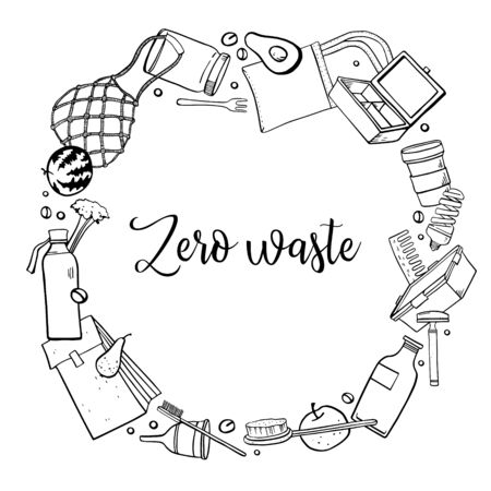 Round frame design template. Zero waste objects. Eco bags, bottles, jars, combs, fruits and plants. Hand drawn otline vector sketch illustration. Black on white background