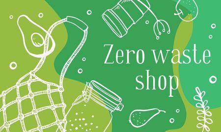 Landscape banner design template. Zero waste shop. Eco bag, jars and food. Outline hand drawn vector illustration. White on green background 矢量图像