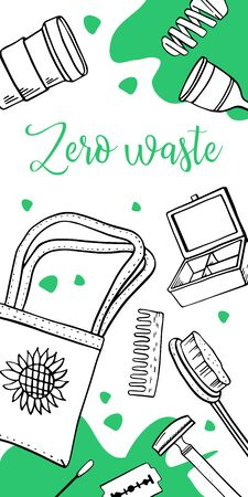 Vertical banner design template. Zero waste. Eco bags, containers and objects. Outline hand drawn vector illustration with green spots