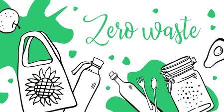 Landscape banner design template. Zero waste. Eco bag, jars, bottles and food. Outline hand drawn vector illustration with green spots