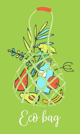 Composition with eco bag filled with fruits, glass bottle and plants. Hand drawn vector sketch illustration