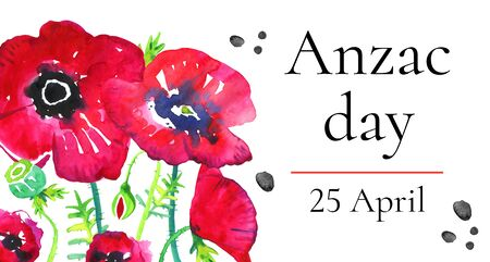 Anzac day horizontal banner template with growing poppies and title. Hand drawn watercolor illustration