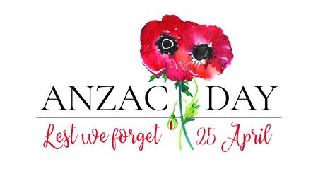 Anzac day composition with big title and two poppies. Hand drawn watercolor illustration